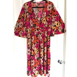 Floral Bell Sleeve Midi Dress